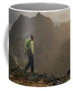 Female Hiker On Summit Of Tverrfjellet Coffee Mug