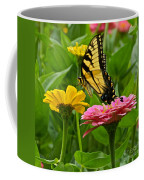 Female Tiger Swallowtail Butterfly With Pink And Yellow Zinnias Coffee Mug