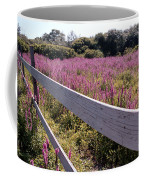 Fence And Purple Wild Flowers Coffee Mug