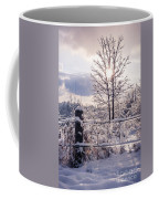 Fence And Tree Frozen In Ice Coffee Mug