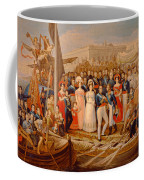 Ferdinand Vii Disembarking In The Port Of Santa Maria, 19th Century Oil On Canvas Coffee Mug