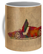 Ferrari Enzo 2004 Classic Car Watercolor On Worn Distressed Canvas Coffee Mug