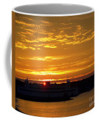 Ferry At Sunset Coffee Mug