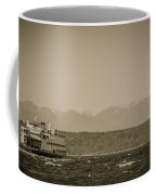 Ferry In Rough Water Heading Toward The Olympics Coffee Mug