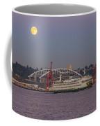 Ferry Under A Full Moon Coffee Mug