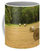 Field Of Freshly Baled Round Hay Bales Coffee Mug by James BO  Insogna