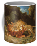 Fight Between A Lion And A Tiger, 1797 Coffee Mug by James Ward
