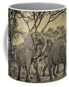 fighting male African elephants Coffee Mug