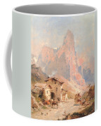 Figures In A Village In The Dolomites Coffee Mug