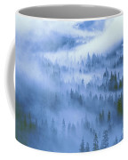 Fir Trees Shrouded In Fog In Yosemite Valley Coffee Mug