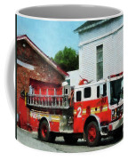 Fireman - Fire Engine In Front Of Fire Station Coffee Mug