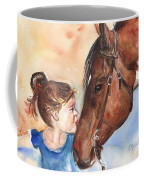 Horse Painting Of Paint Horse And Girl First Kiss Coffee Mug