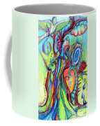 Fish Feather In Teapot Tree Guarded By Human Bird Coffee Mug