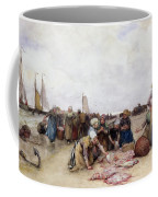 Fish Sale On The Beach  Coffee Mug by Bernardus Johannes Blommers