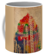 Fisher Building Iconic Buildings Of Detroit Watercolor On Worn Canvas Series Number 4 Coffee Mug