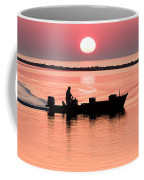 Fisherman At Sunrise Apalachicola Bay Florida  Coffee Mug by Bill Swindaman