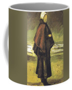 Fishermans Wife On The Beach Coffee Mug by Vincent Van Gogh