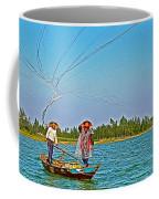 Fishermen Casting A Broad Net On Thu Bon River In Hoi An-vietnam Coffee Mug