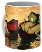 Fishing Barges On The River Sugovica Coffee Mug by Emil Parrag