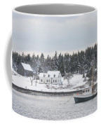 Fishing Boat After Snowstorm In Port Clyde Harbor Maine Coffee Mug
