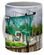 Fishing Boat And Pelicans On Posts Coffee Mug