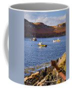 Fishing Boats At Anchor In A Quiet Bay On The Isle Of Skye In Sc Coffee Mug