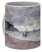 Fishing Boats In Front Of The Beach And Cliffs Of Pourville Coffee Mug