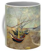 Fishing Boats On The Beach At Les Sainte-maries-de-la-mer Coffee Mug