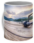 Fishing Tackle On A Wooden Float With Mountain Background In Nc Coffee Mug