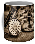 Fishing - Vintage Fly Fishing - Black And White Coffee Mug by Paul Ward