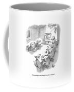 Five Dogs Sit Around An Office Meeting Table Coffee Mug