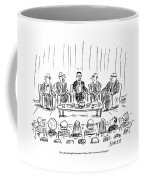 Five Men Sit On A Stage In Front Of An Audience Coffee Mug