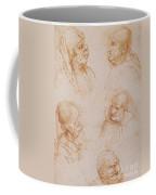 Five Studies Of Grotesque Faces Coffee Mug by Leonardo da Vinci