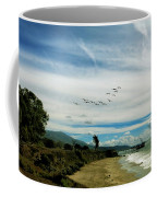 Flight Of Pelicans Coffee Mug