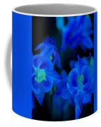 Floral Blue Orchid On Black Coffee Mug
