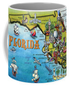 Florida Cartoon Map Coffee Mug