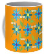 Flower And Dragonfly Design With Orange Background Coffee Mug