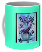 Flowers In A Vase With Blue Border Coffee Mug