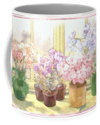 Flowers On The Windowsill Coffee Mug by Julia Rowntree