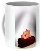 Flowers On Towel Coffee Mug by Olivier Le Queinec
