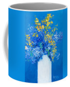 Flowers With Blue Background Coffee Mug