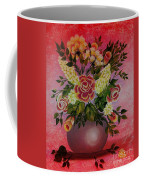Flowers With Red Background Coffee Mug