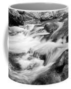 Flowing St Vrain Creek Black And White Coffee Mug