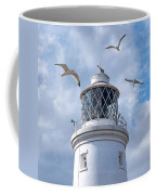 Fly Past - Seagulls Round Southwold Lighthouse - Square Coffee Mug