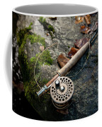 Fly Rod And Reel Detail On Mossy Wet Coffee Mug