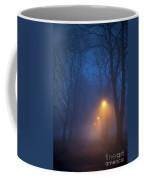 Foggy Avenue Of Trees With Path At Night No People Coffee Mug