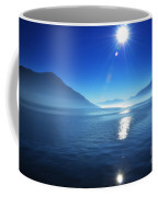 Foggy Lake With Sun Coffee Mug