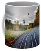 Foggy Nature Along The Train Tracks Coffee Mug