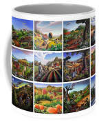 Folk Art Seasonal Seasons Sampler Greetings Rural Country Farm Collection Farms Landscape Scene Coffee Mug