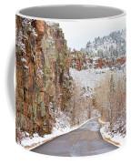 Follow The Red Rock Ridge Winter Road  Coffee Mug